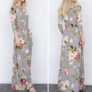 New Egs By Eloges Gray Floral Maxi Dress w/ Pocket